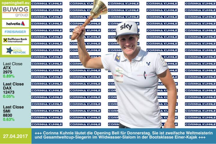 #openingbell am 27.4.:  Corinna Kuhnle läutet die Opening Bell für Donnerstag. Sie ist zweifache Weltmeisterin und Gesamtweltcup-Siegerin im Wildwasser-Slalom in der Bootsklasse Einer-Kajak http://www.corinnakuhnle.at/  https://www.facebook.com/groups/Sportsblogged