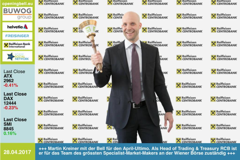 #openingbell am 28.4.: Martin Kreiner mit der Opening Bell für den April-Ultimo. Als Head of Trading & Treasury bei der RCB ist er für das Team des grössten Specialist-Market-Makers an der Wiener Börse zuständig http://www.rcb.at https://www.facebook.com/groups/GeldanlageNetwork/  (28.04.2017)