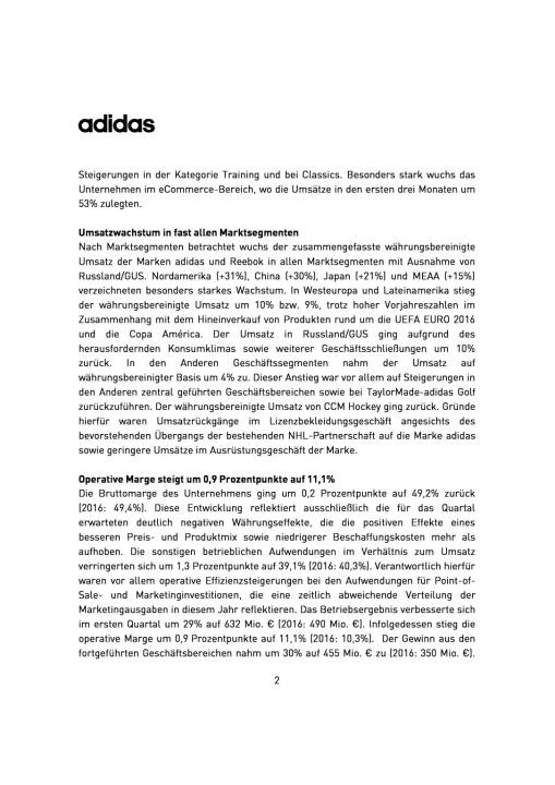 adidas: Ergebnisse Q1/2017, Seite 2/6, komplettes Dokument unter http://boerse-social.com/static/uploads/file_2236_adidas_ergebnisse_q12017.pdf