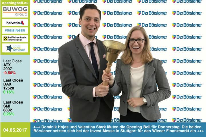 #openingbell am 4.5.: Dominik Hojas und Valentina Stark läuten die Opening Bell für Donnerstag. Die beiden Börsianer setzten sich bei der Invest-Messe in Stuttgart für den Wiener Finanzmarkt ein http://www.derboersianer.com https://www.facebook.com/groups/GeldanlageNetwork/
