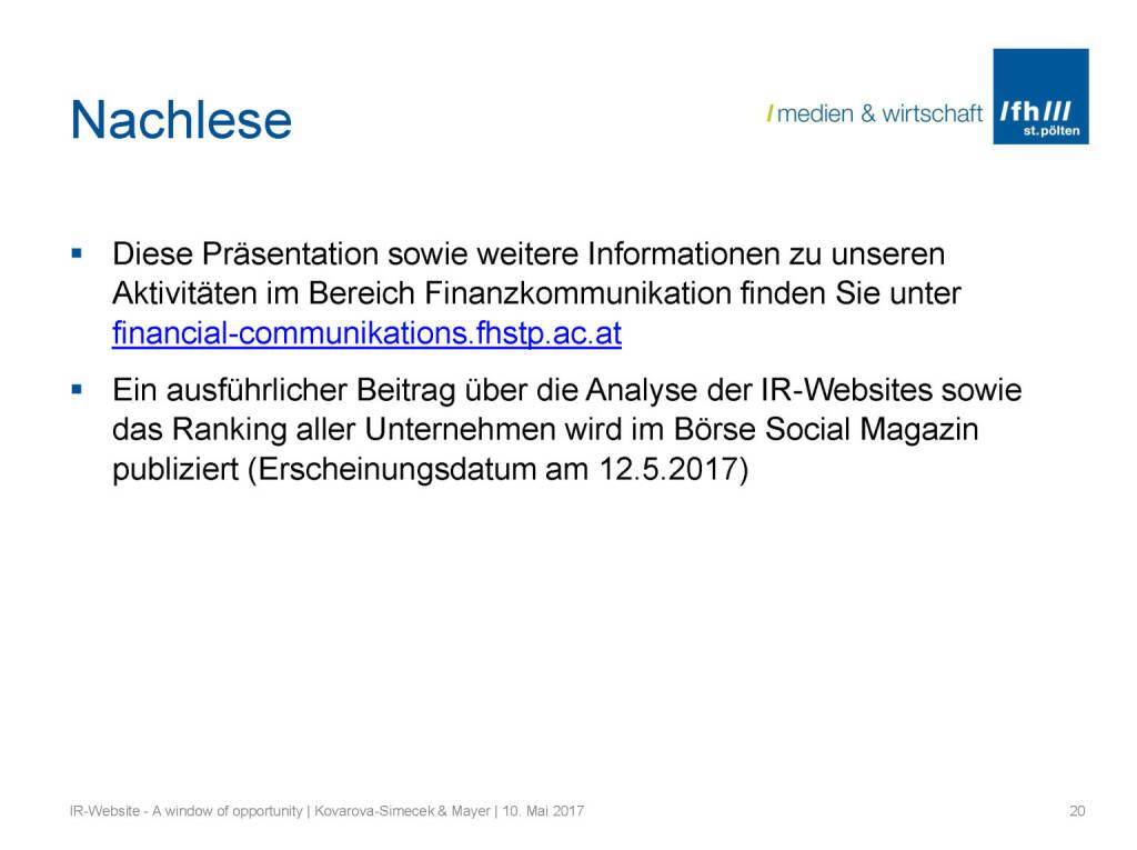 Nachlese - IR-Websites Studie, © Fachhochschule St. Pölten (11.05.2017)