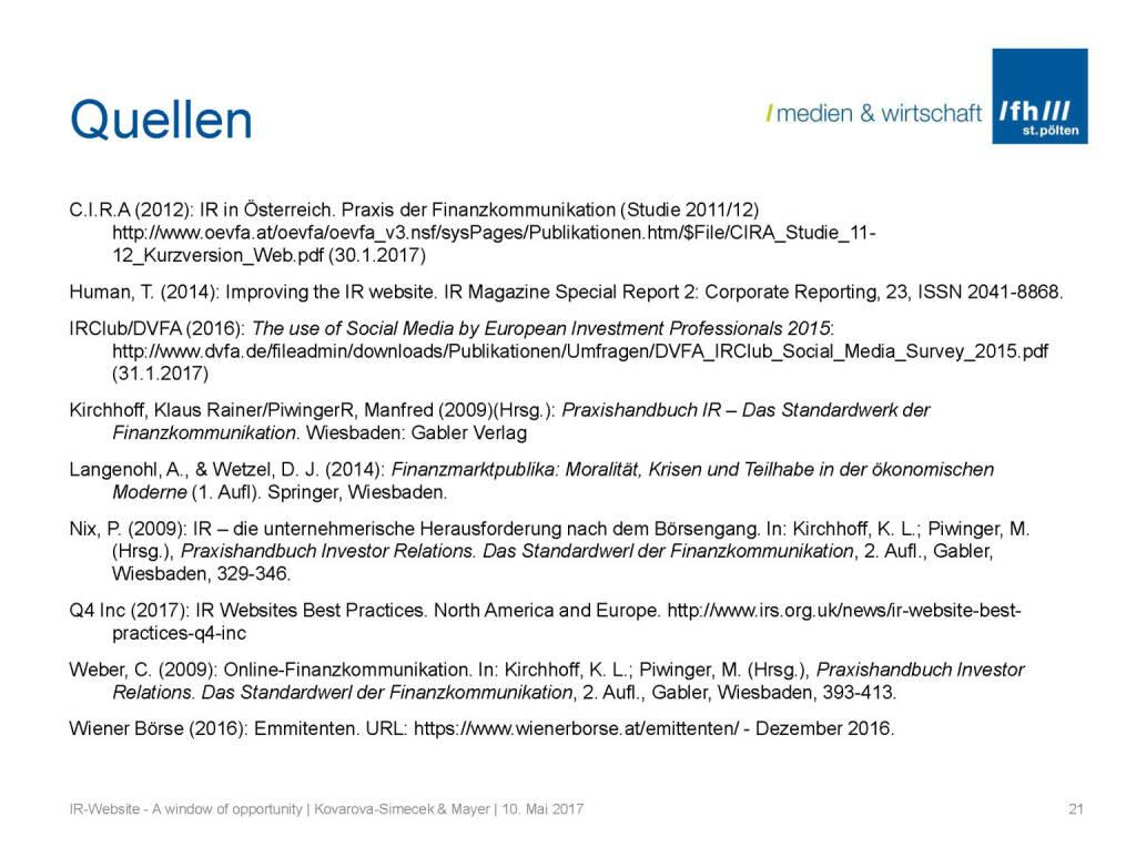 Quellen - IR-Websites Studie, © Fachhochschule St. Pölten (11.05.2017)