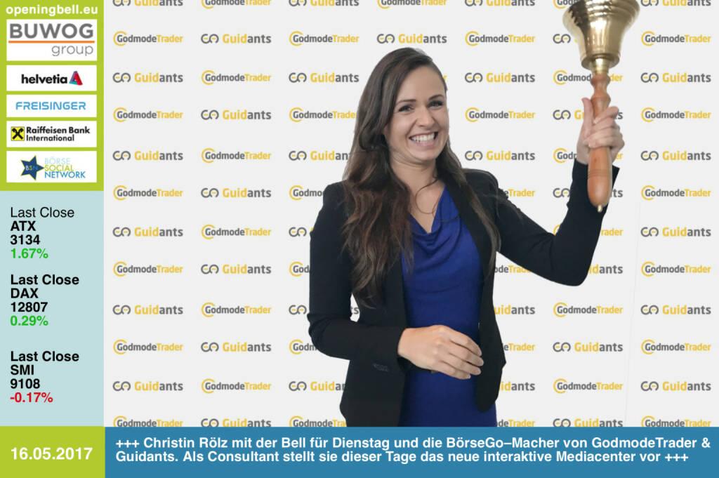 #openingbell am 16.5.: Christin Rölz mit der Opening Bell für Dienstag bzw. die BörseGo–Macher von GodmodeTrader und Guidants. Als Consultant stellt sie dieser Tage das neue interaktive Mediacenter vor https://www.boerse-go.de https://www.godmode-trader.de https://go.guidants.com https://www.facebook.com/groups/GeldanlageNetwork/   (16.05.2017)