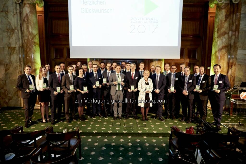 Zertifikate Award Austria 2017 - Alle Preisträger (Fotocredit: Zertifikate Forum Austria) (19.05.2017)
