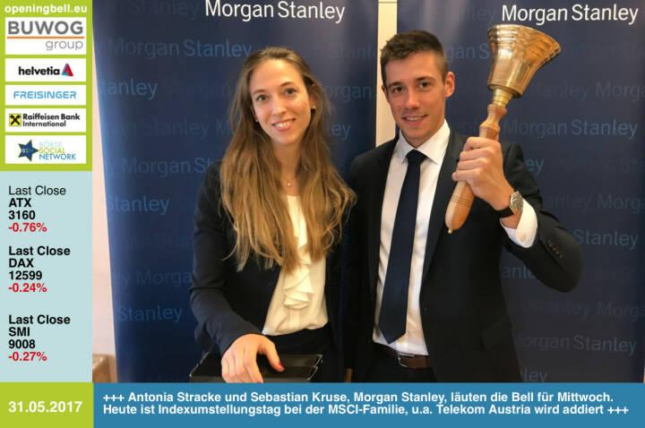 #openingbell am 31.5.: Antonia Stracke und Sebastian Kruse, Morgan Stanley, läuten die Bell für Mittwoch. Heute ist Indexumstellungstag bei der MSCI-Familie, u.a. Telekom Austria wird addiert http://www.morganstanley.com/ https://www.facebook.com/groups/GeldanlageNetwork/
