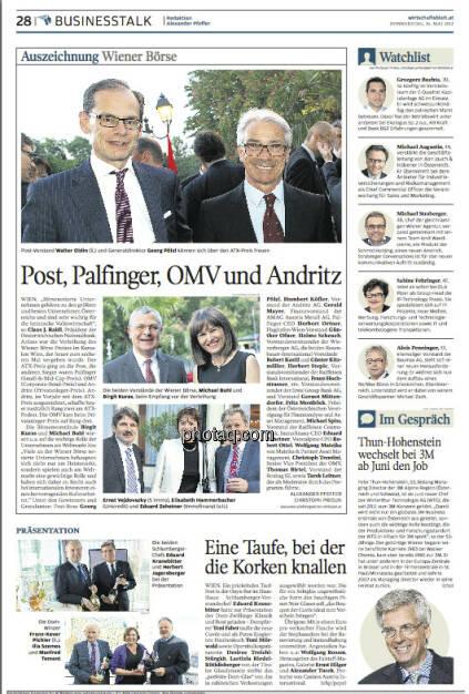 Freut uns: WirtschaftBlatt berichtet über den Wiener Börsepreis 2013, mit Bildern aus diesem Set von finanzmarktfoto.at, © finanzmarktfoto/Martina Draper (16.05.2013)
