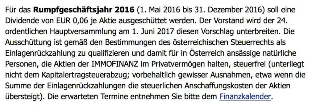 Indexevent Rosinger-Index 25: Immofinanz Dividende 2.6. Dividende 0,06 EUR -> Erhöhung Stückzahl um 2,90 Prozent (01.06.2017)
