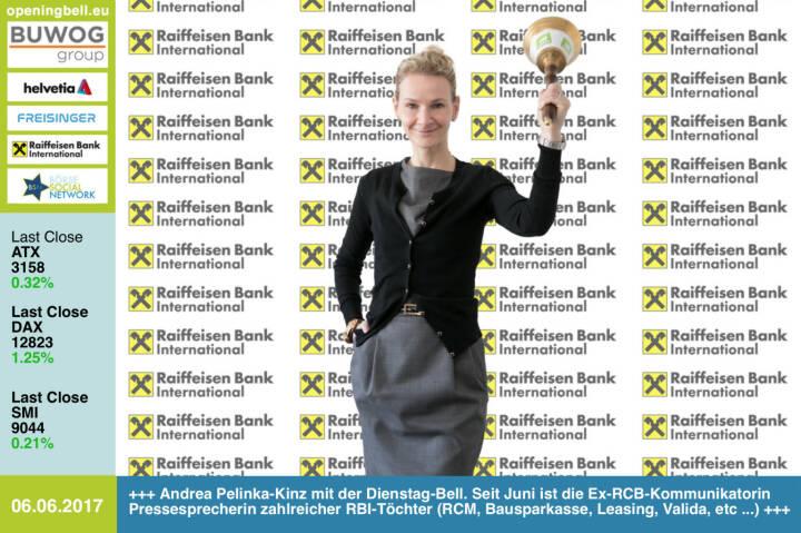 #openingbell am 6.6.: Andrea Pelinka-Kinz mit der Opening Bell für Dienstag. Seit Juni fungiert die Ex-RCB-Kommunikatorin als Pressesprecherin zahlreicher RBI-Töchter (Raiffeisen Capital Management, Raiffeisen Bausparkasse, Raiffeisen Leasing, Valida, Raiffeisen Factor Bank, Raiffeisen e-force, Raiffeisen Wohnbaubank) http://www.rbinternational.com https://www.facebook.com/groups/GeldanlageNetwork/