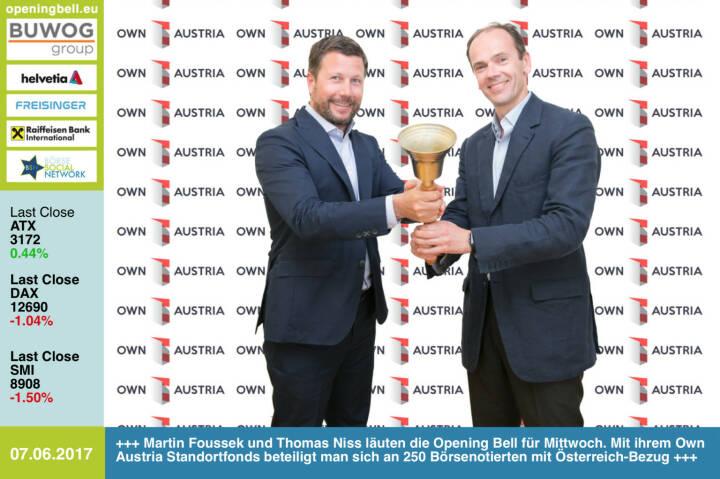 #openingbell am 7.6.: Martin Foussek und Thomas Niss läuten die Opening Bell für Mittwoch. Mit ihrem Own Austria Standortfonds beteiligt man sich an 250 Börsenotierten mit Österreich-Bezug https://www.ownaustria.at https://www.facebook.com/groups/GeldanlageNetwork/