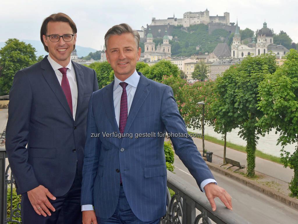 Werner Zenz (rechts) wird Nachfolger von Vorstandssprecher Helmut Gerlich und Nils Kottke rückt in den Spängler-Vorstand auf und übernimmt das Ressort Privatvermögen (Bild: Spängler) (07.06.2017)