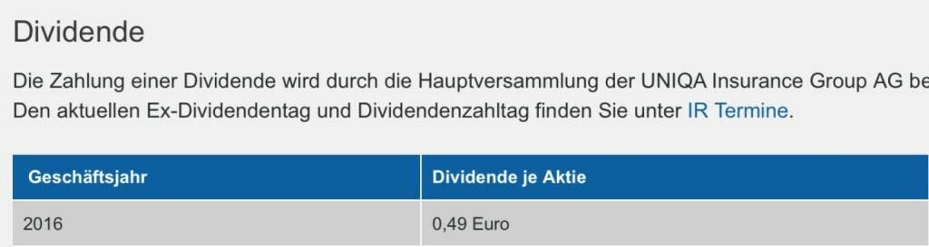 Indexevent Rosinger-Index 26: Uniqa Dividende 8.6. Dividende 0,49 EUR -> Erhöhung Stückzahl um 6,32 Prozent (07.06.2017)