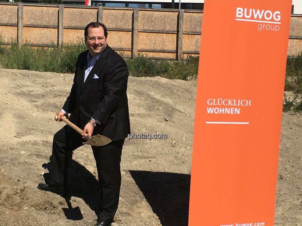 Daniel Riedl, CEO Buwog AG, beim Spatenstich in der Seestadt Aspern, © Christine Petzwinkler (12.06.2017)