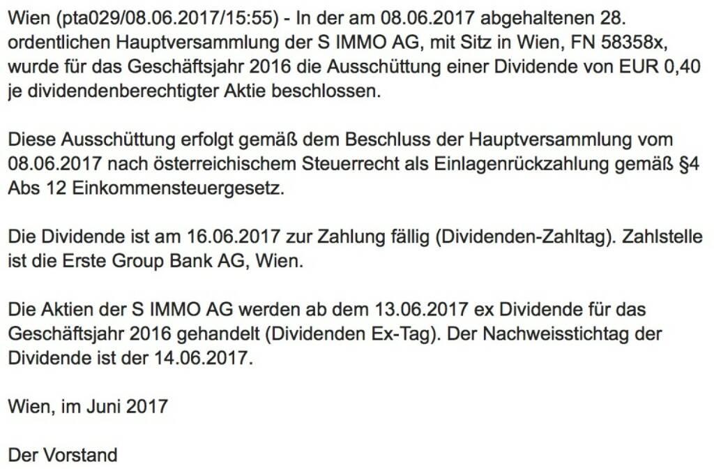 Indexevent Rosinger-Index 27: S Immo Dividende 13.6. Dividende 0,40 EUR -> Erhöhung Stückzahl um 3,17 Prozent (12.06.2017)