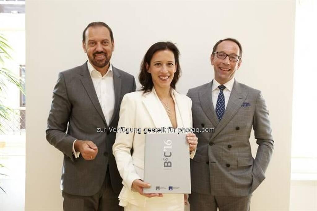 B&C-Gruppe, Dr. Mariella Schurz, Mag. Patrick Prügger, Univ.-Prof. Dr. Werner Hoffmann, B&C/APA-Fotoservice/Roßboth (30.06.2017)