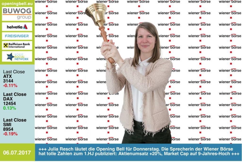 #openingbell am 6.7.: Julia Resch läutet die Opening Bell für Donnerstag. Die Sprecherin der Wiener Börse hat tolle Zahlen zum 1.HJ publiziert: Aktienumsatz +20%, Market Cap auf 9-Jahres-Hoch http://www.wienerborse.at https://www.facebook.com/groups/GeldanlageNetwork/ #goboersewien  (06.07.2017)