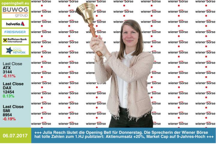 #openingbell am 6.7.: Julia Resch läutet die Opening Bell für Donnerstag. Die Sprecherin der Wiener Börse hat tolle Zahlen zum 1.HJ publiziert: Aktienumsatz +20%, Market Cap auf 9-Jahres-Hoch http://www.wienerborse.at https://www.facebook.com/groups/GeldanlageNetwork/ #goboersewien