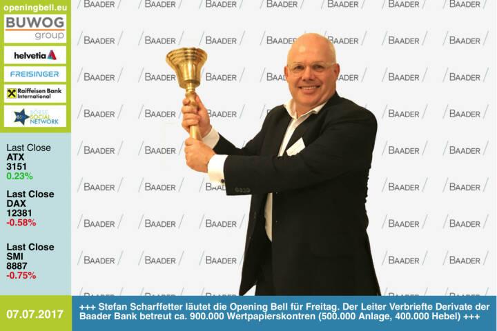 #openingbell am 7.7.:  Stefan Scharffetter läutet die Opening Bell für Freitag. Der Leiter Verbriefte Derivate bei der Baader Bank betreut ca. 900.000 Wertpapierskontren (500.000 Anlage-, 400.000 Hebelprodukte) https://www.baaderbank.de https://www.facebook.com/groups/GeldanlageNetwork/ #goboersewien