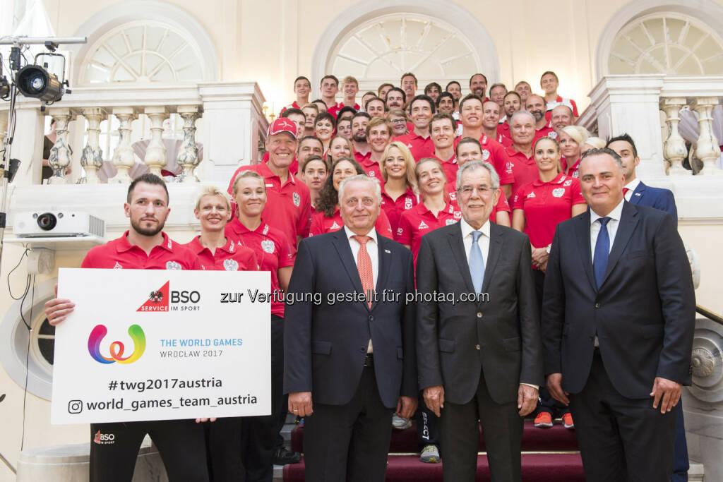 Bundes-Sportorganisation (BSO): BSO: Österreichs World Games Team durch Bundespräsidenten Van der Bellen verabschiedet (Fotocredit: BSO/Leo Hagen), © Aussender (10.07.2017)