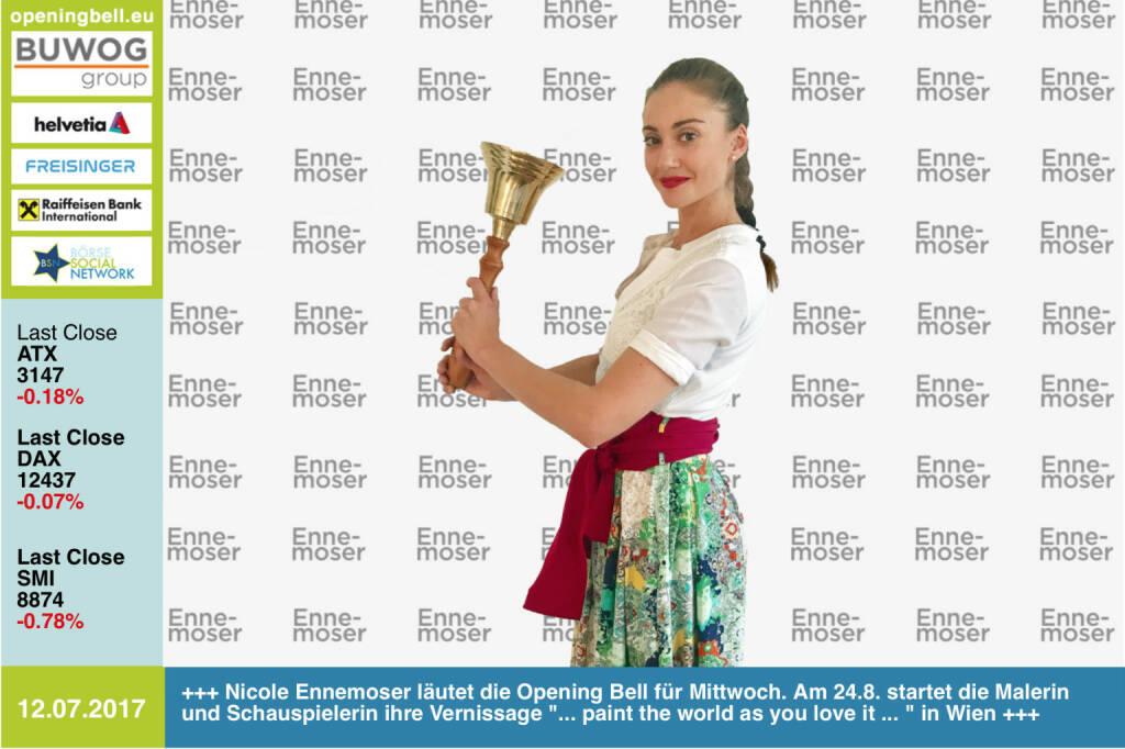 #openingbell am 12.7.: Nicole Ennemoser läutet die Opening Bell für Mittwoch. Am 24.8. startet die Schauspielerin und Malerin ihre Vernissage ... paint the world as you love it ...  in Wien http://www.nicoleennemoser.com  (12.07.2017)