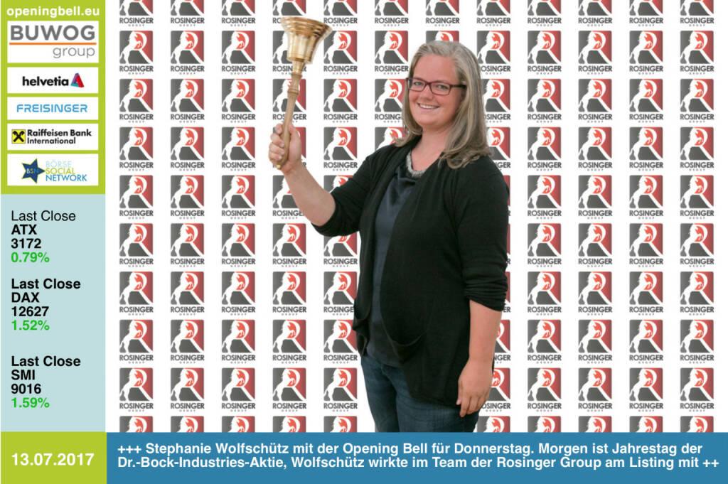 #openingbell am 13.7.:  Stephanie Wolfschütz läutet die Opening Bell für Donnerstag. Morgen ist Jahrestag der Dr.-Bock-Industries-Aktie an der Wiener Börse, Wolfschütz wirkte im Team der Rosinger Group am Listing mit https://www.drbockindustries.com/home http://www.rosinger-gruppe.de https://www.facebook.com/groups/GeldanlageNetwork/ #goboersewien  (13.07.2017)