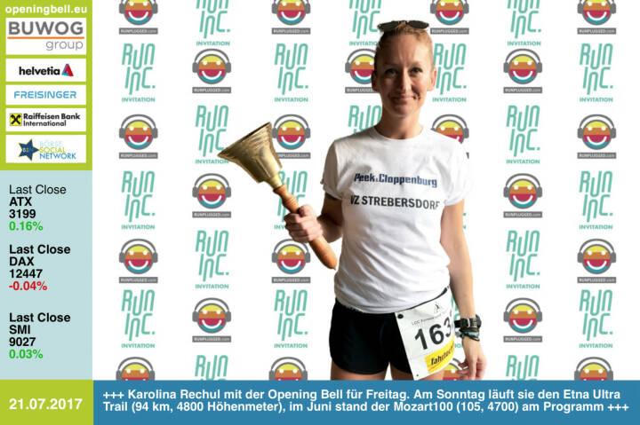 #openingbell am 21.7.: Karolina Rechul mit der Opening Bell für Freitag im Rahmen der RunInc-Invitation für Läufer/innen. Am Sonntag startet sie beim Etna Ultra Trail (94 km, 4800 Höhenmeter), im Juni stand der Mozart100 (105, 4700) am Programm   http://www.runinc.at http://www.runplugged.com https://www.facebook.com/groups/Sportsblogged/