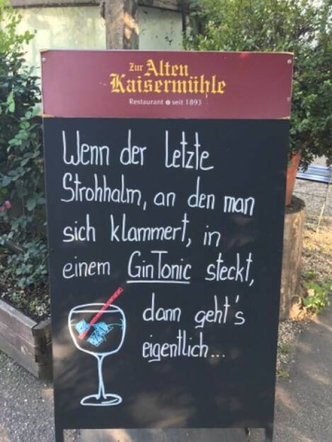 Alte Kaisermühle mit Gin Tonic Hinweis für unseren German of the Board Christoph Scherbaum (oder so) (26.07.2017)