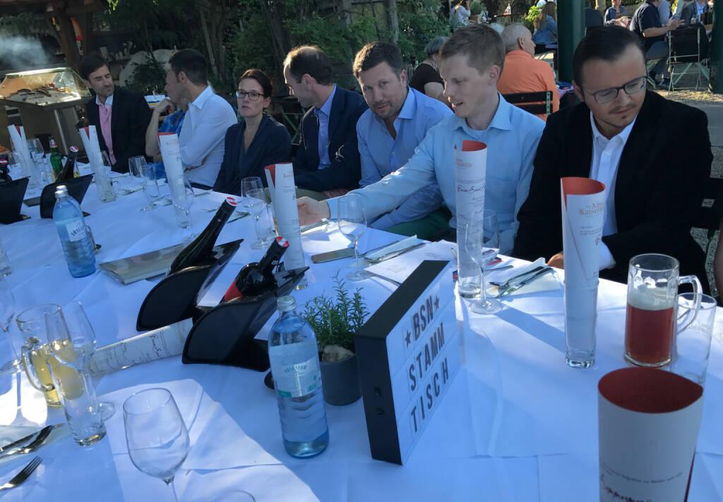 1. Börse Social Magazine Abonnenten-Stammtisch mit Michael Plos (BSN) ganz rechts (26.07.2017)