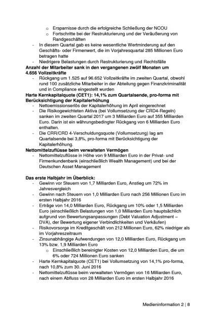 Deutsche Bank: Q2 bringt 466 Mio. Euro Gewinn nach Steuern, Seite 2/8, komplettes Dokument unter http://boerse-social.com/static/uploads/file_2297_deutsche_bank_q2_bringt_466_mio_euro_gewinn_nach_steuern.pdf (27.07.2017)