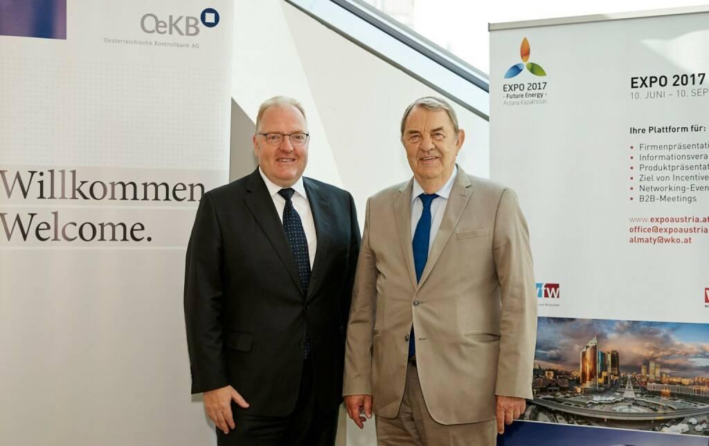 WKÖ und OeKB forcieren Zukunftsmarkt Zentralasien, Helmut Bernkopf, Richard Schenz, Fotocredit: OeKB/Christina Häusler, © Aussender (02.08.2017)