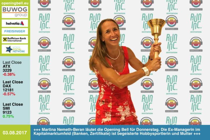 #openingbell am 3.8.: Martina Nemeth-Beran läutet die Opening Bell für Donnerstag. Die Ex-Managerin im Kapitalmarktumfeld (Banken, Zertifikate) ist begeisterte Hobbysportlerin (daher läutet sie im Rahmen der RunInc.-Invitation) und Mutter http://www.runinc.at http://www.runplugged.com https://www.facebook.com/groups/Sportsblogged/