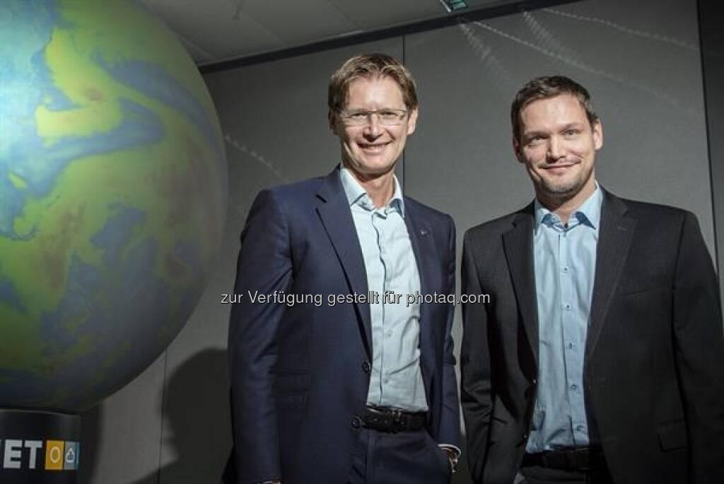 Andreas Kößl, Vorstand UNIQA Österreich und Michael Fassnauer, CEO von UBIMET, © UNIQA / Froese (08.08.2017)