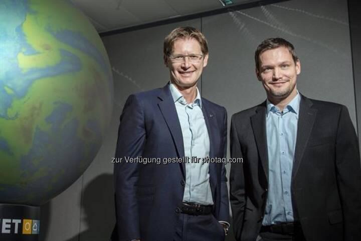 Andreas Kößl, Vorstand UNIQA Österreich und Michael Fassnauer, CEO von UBIMET, © UNIQA / Froese