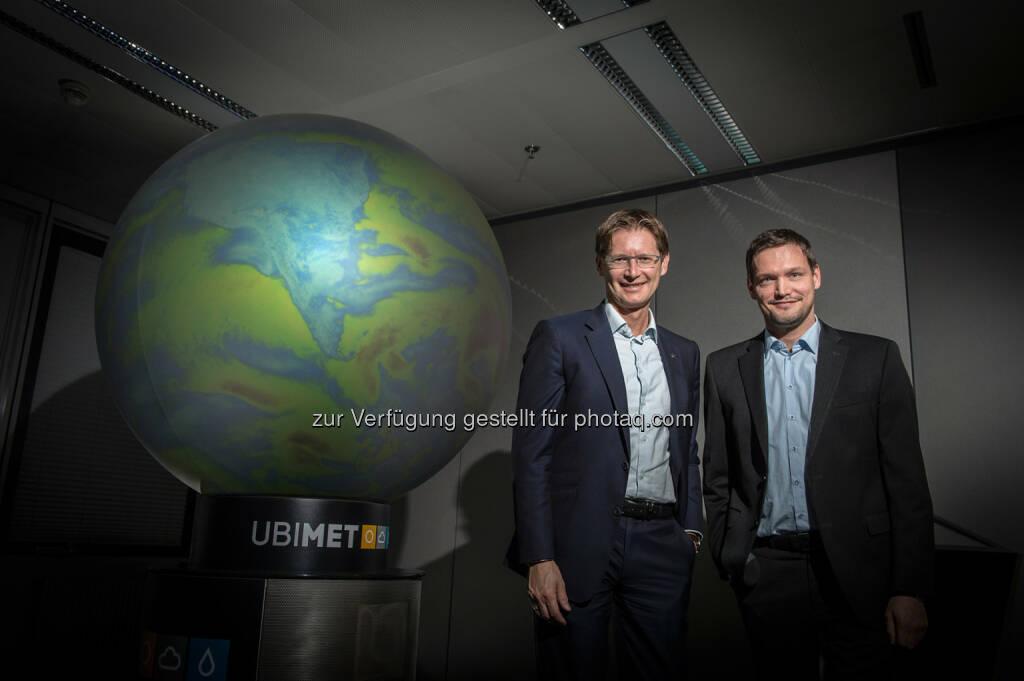 Andreas Kößl, Vorstand UNIQA Österreich und Michael Fassnauer, CEO von UBIMET - UNIQA Insurance Group AG: UNIQA Österreich erwartet aus aktuellem Unwetter Schäden im einstelligen Millionen-Euro-Bereich (Fotocredit: UNIQA/Froese), © Aussender (08.08.2017)
