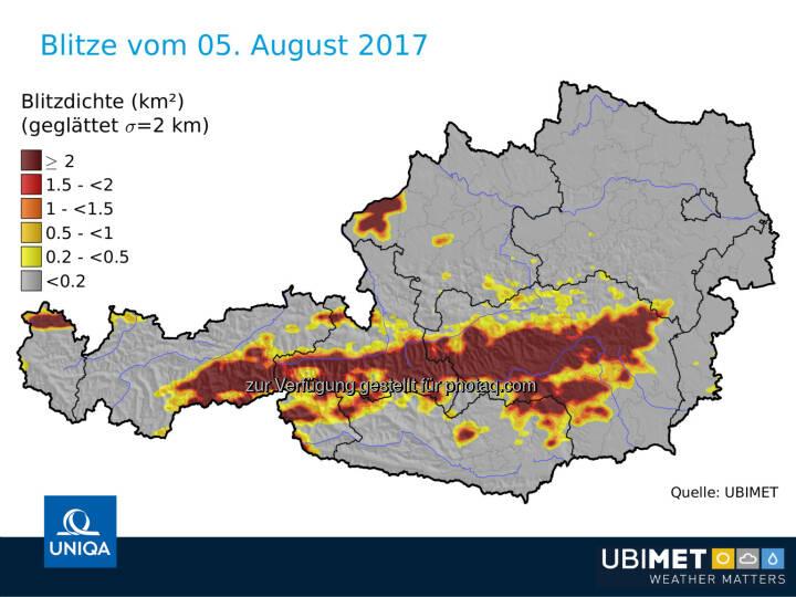 Blitze in Österreich am 5.8.2017 - UNIQA Insurance Group AG: UNIQA Österreich erwartet aus aktuellem Unwetter Schäden im einstelligen Millionen-Euro-Bereich (Fotocredit: UNIQA/UBIMET)