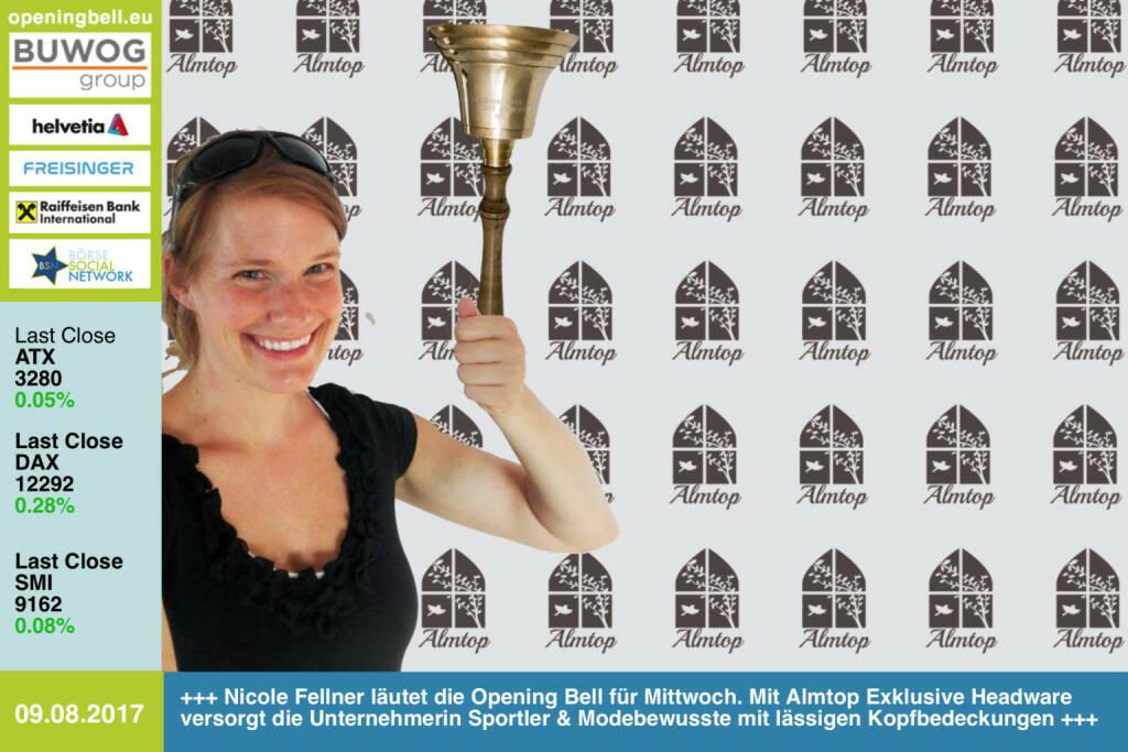 #openingbell am 9.8.: Nicole Fellner läutet die Opening Bell für Mittwoch. Mit Almtop Exklusive Headware versorgt die Unternehmerin Sportler und Modebewusste mit lässigen Kopfbedeckungen https://www.facebook.com/Almtop-Exklusive-Headware-399728066874749/ https://www.facebook.com/groups/Sportsblogged/  (09.08.2017)