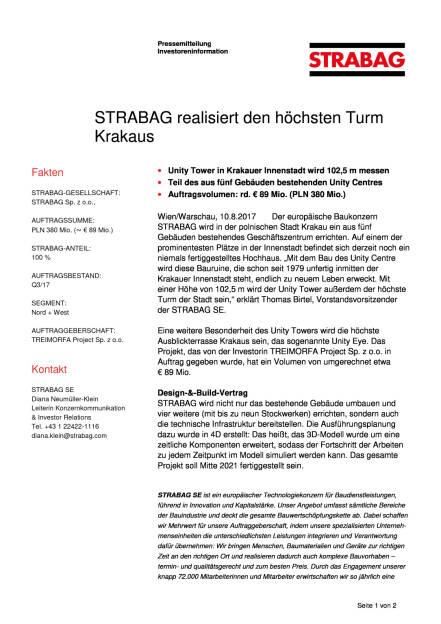 Strabag realisiert den höchsten Turm Krakaus, Seite 1/2, komplettes Dokument unter http://boerse-social.com/static/uploads/file_2308_strabag_realisiert_den_hochsten_turm_krakaus.pdf (10.08.2017)