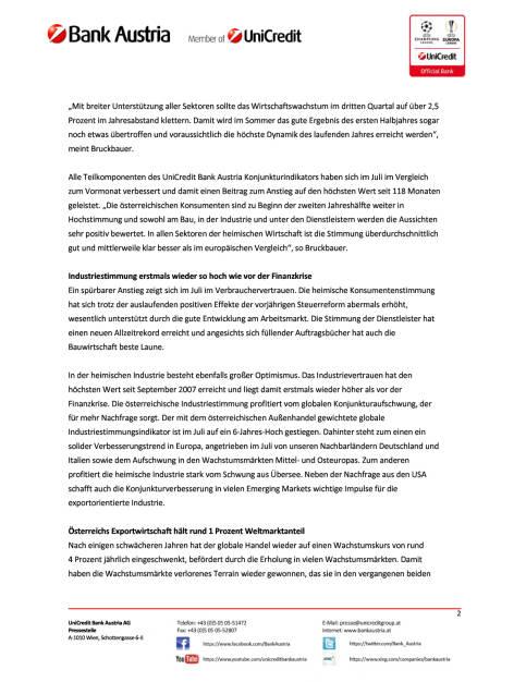 UniCredit Bank Austria Konjunkturindikator: Österreichs Wirtschaft im Sommerhoch, Seite 2/5, komplettes Dokument unter http://boerse-social.com/static/uploads/file_2309_unicredit_bank_austria_konjunkturindikator_osterreichs_wirtschaft_im_sommerhoch.pdf