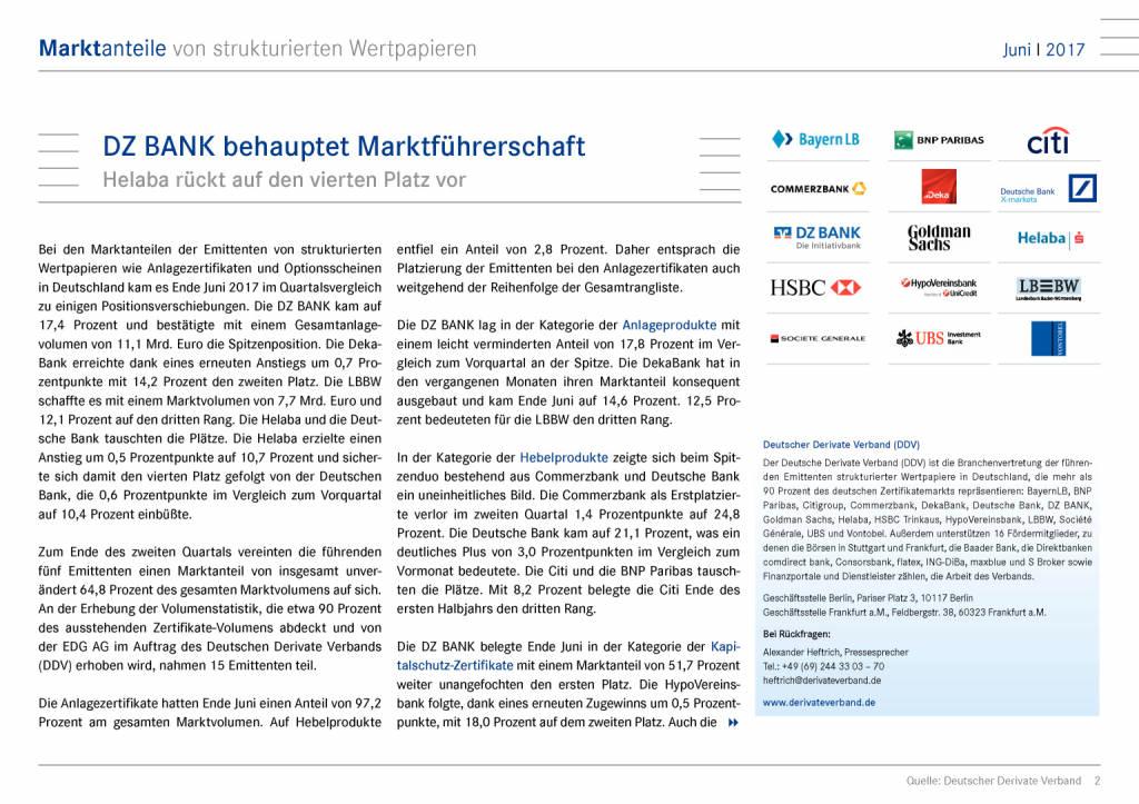 Juni 2017: Marktanteile von strukturierten Wertpapieren in Deutschland, Seite 2/8, komplettes Dokument unter http://boerse-social.com/static/uploads/file_2310_juni_2017_marktanteile_von_strukturierten_wertpapieren_in_deutschland.pdf