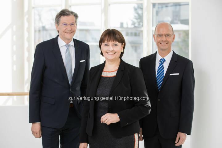 BKS: Dieter Kraßnitzer, Vorstandsmitglied, Herta Stockbauer, Vorstandsvorsitzende und Wolfgang Mandl, Vorstandsmitglied, Foto: Gernot Gleiss
