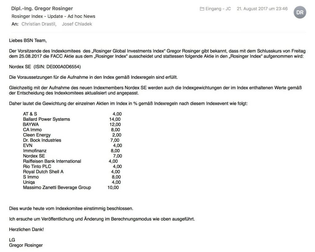 Indexevent Rosinger-Index 34: Aufnahme Nordex per Schlusskurse 25.8.2017, Herausnahme FACC ebenfalls per 25.8.2017 (26.08.2017)