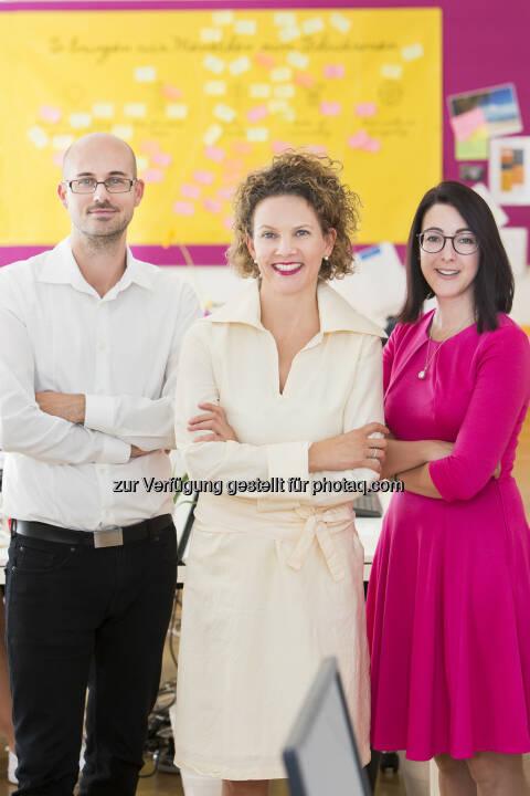 ambuzzador-Geschäftsführung: Stefan Schwaha, Sabine Hoffmann, Stephanie Ogulin (Fotocredit: Jürgen Hammerschmid)
