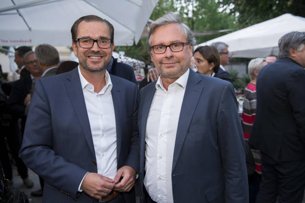 APA-Bieriger 2017, v.l.n.r.: Clemens Pig (APA) und Alexander Wrabetz (ORF); Foto: APA/APA-Fotoservice/Martin Hörmandinger, © Aussender (06.09.2017)