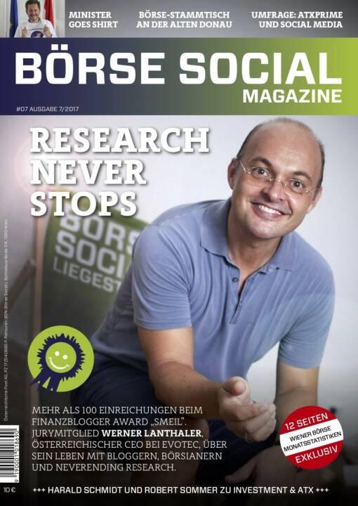 Börse Social Magazine #7 mit Werner Lanthaler, Evotec, am Cover