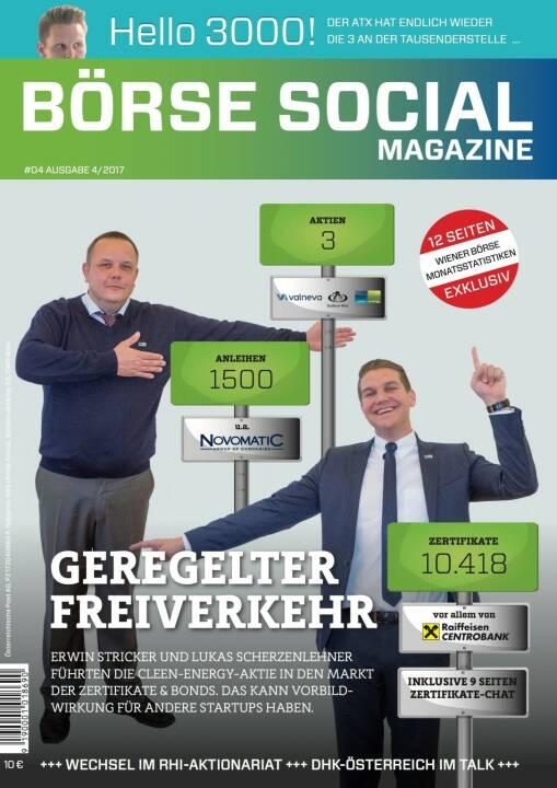 Börse Social Magazine #4 mit Erwin Stricker und Lukas Scherzenlehner, Cleen Energy, am Cover