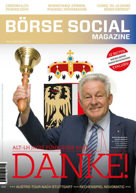 Börse Social Magazine #3 mit Josef Pühringer, Alt-LH OÖ, am Cover (11.09.2017)