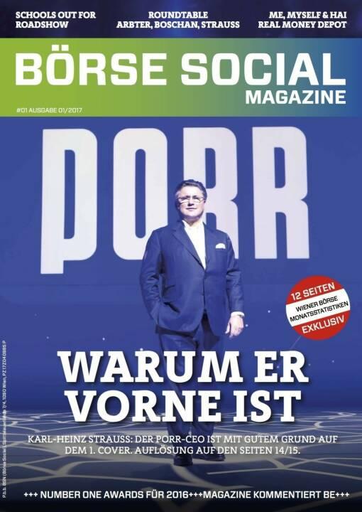 Börse Social Magazine #1 mit Karl-Heinz Strauss, Porr, am Cover