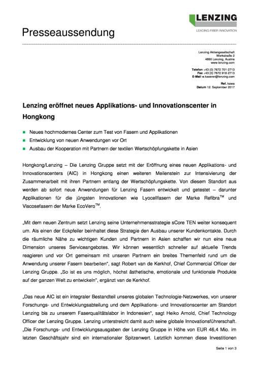 Lenzing eröffnet neues Applikations- und Innovationscenter in Hongkong, Seite 1/3, komplettes Dokument unter http://boerse-social.com/static/uploads/file_2333_lenzing_eroffnet_neues_applikations-_und_innovationscenter_in_hongkong.pdf