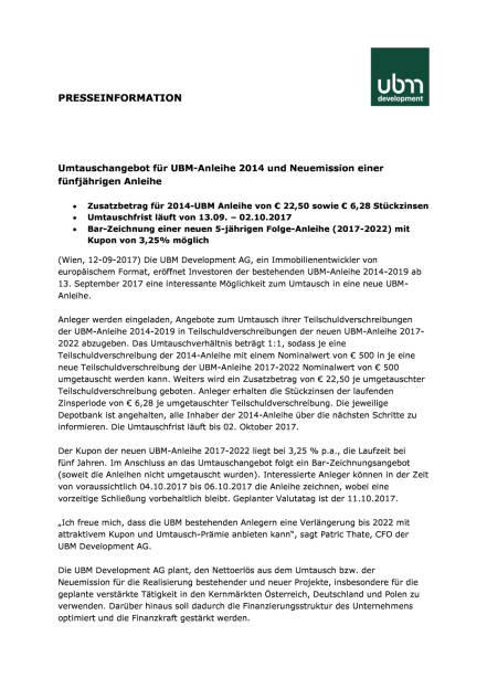 Umtauschangebot für UBM-Anleihe 2014 und Neuemission einer fünfjährigen Anleihe, Seite 1/3, komplettes Dokument unter http://boerse-social.com/static/uploads/file_2334_umtauschangebot_fur_ubm-anleihe_2014_und_neuemission_einer_funfjahrigen_anleihe.pdf (12.09.2017)