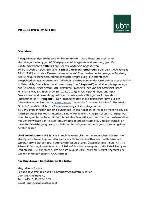 Umtauschangebot für UBM-Anleihe 2014 und Neuemission einer fünfjährigen Anleihe, Seite 3/3, komplettes Dokument unter http://boerse-social.com/static/uploads/file_2334_umtauschangebot_fur_ubm-anleihe_2014_und_neuemission_einer_funfjahrigen_anleihe.pdf