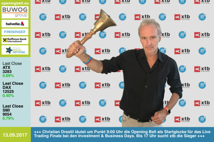 #openingbell am 13.9.:  Christian Drastil läutet um Punkt 9:00 Uhr die Opening Bell als Gast-Startglocke für das Live Trading Finale bei den Investment & Business Days. Bis 17 Uhr sucht xtb die Sieger https://www.investment-business-days.com/ibdays/sendeplan https://www.xtb.com/de https://www.facebook.com/groups/GeldanlageNetwork/ #goboersewien